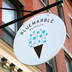 Gabriele Wilson, usually known for her delicate, gorgeous book cover designs, has designed the signage and identity for Blue Marble ice cream shop in Brooklyn.