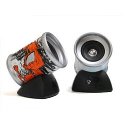 Crushed can desktop speakers with art by graffiti dynamic duo SERF and MINT as well as designer Dean Bradley - designed and  developed by Bigshottoyworks for Boost mobile