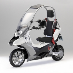 "BMW Motorrad has just introduced their new C1-E electric scooter concept as what ""a safe, environment-friendly and highly practical single track vehicle for city traffic could look like in the future."""