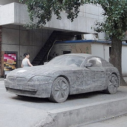 BMW Z4 made out of stone and mortar was spotted in Beijing, China.