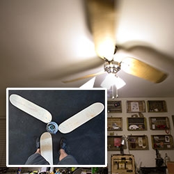 Our Skateboard Ceiling Fan! A NOTlabs experiment ~ we got tired of the old fan, and decided to try out skateboards as fan blades!
