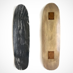 Custom shape skateboard deck by Makr Studio. Gray top laminate with hand stained bottom. The board is a White Walnut toned bottom with a gray steel like top.