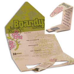 This clever origami USB stick called Boardy created from recycled paper , starts life  as a  sheet of printed board which is designed to be folded into a USB drive.