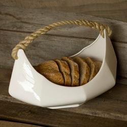 Reiko Kaneko's Boat ~ bread basket, fruit basket, up to you! Natural fiber handle and bone china base!