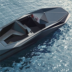 A rendering of the Z Boat, designed by Zaha Hadid for art dealer Kenny Schachter