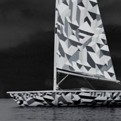 Marian Bantjes has created a graphically enhanced Laser class dinghy for Wallpaper magazine. The limited edition Laser sailboat references the cubist patterns of the First and Second World War 'dazzle' naval camouflage.