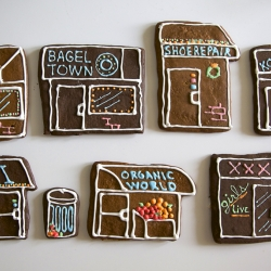 We skipped the gingerbread men this year and decided to make some cookies a little closer to home. City dwellers will be familiar with these gingerbread bodegas.