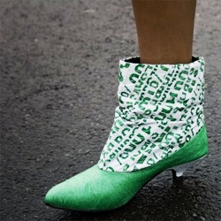 A chilean girl makes these stylish boots using recycled plastic bags.