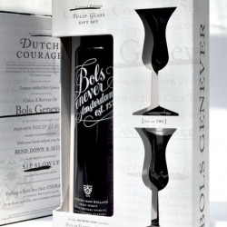 BMB NYC designed this great holiday gift pack for Bols Genever, complete with gorgeous tulip glasses.