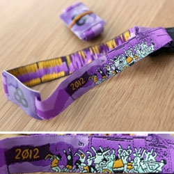Festival wristbands don't have to be plasticy anymore, even with RFID tags in them... here's a look at the adorably illustrated new cloth/RFID Bonnaroo 2012 ones!
