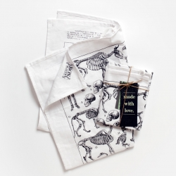 'Les Squelettes' – fine linen with fine bones – printed kitchen and dish towel from Bon Matin!
