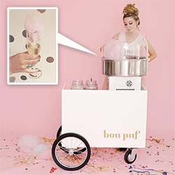 Bon Puf - gourmet cotton candy for events based here in LA! With flavors like Mango Chili, Horchata, Sparkle Puf, Pop Puf (pop rocks!), and more... in regular sizes and Lolliepufs... even cocktail/coffee toppers!