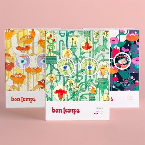 Bon Temps Tea - happy packaging illustrations for these non-toxic and plastic free teas. These tea bags are made out of non-GMO corn!