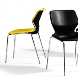 Stefan Borselius chair Boo is designed to be stackable and easy to store.  Boo is chair in molded felt and textile, with the material in the seat rim pressed to it limit and a stand of chrome-plated steel.