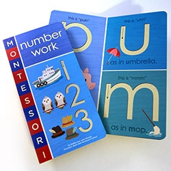 Following the great Montessorium Apps - comes two board books, Letter Work & Number Work, which incorporate the sand paper letters and numbers we start with in Montessori! Fun illustrations too!