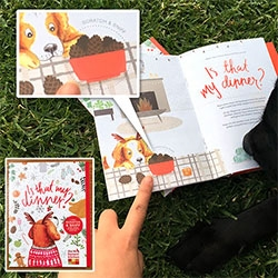 "We let Bucky read through the Honest Kitchen ""Is that my dinner"" Holiday Scratch & Sniff Storybook for dogs!"