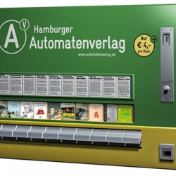 German publishing company Hamburger Automatenverlag has adapted old cigarette vending machines to sell books instead of cigarettes at various locations in Hamburg.