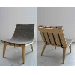 Canadian design team Bookhou's steam bent ash wood children's chair. Comfortable with a removable industrial felt lining. Sturdy enough to handle whatever kids throw at it. Literally!