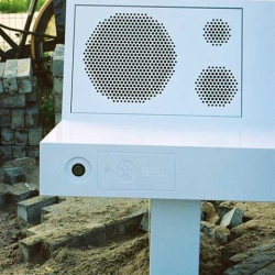 Designer Michael Schoner of NL Architects transformed a regular piece of street furniture into a sound system called 'Boombench' - it reveals its hidden power via Bluetooth, allowing the public to play the music on their mobile phones.