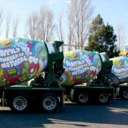 "The Brave agency from Sydney, developed a 'new media' - ""Cement Truck Advertising."" To promote material for constructions, Boral, they used the trucks of the company."