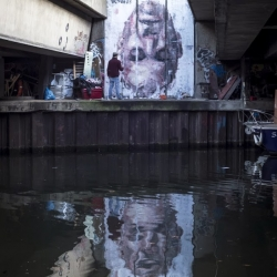 'Narcissus' by Borondo, painting it upside-down, and using the water's reflection, brings a whole new dimension to this portrait.