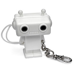 The Splitterbot is a cute little faux-bot that shares music from an mp3 player between two earphones.
