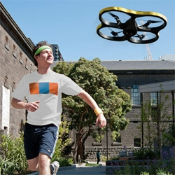 The Exertion Games Lab's Joggobot ~ fun use of an AR Drone to explore the idea of robots that help motivate/coach/accompany you on your run/jog/etc.
