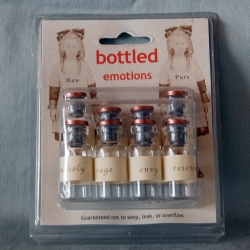 "Catherine McEver's line of false products you can't buy includes a Bottled Emotions Kit with the warning: ""Not suitable for children or emotionally labile adults."""