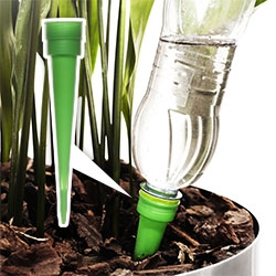 Sagaform Self Watering Cone - an elegant variation of the cone where you fill your water bottle, screw it into the cone, and flip it into a potted plant to self water!