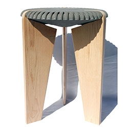 Bottle Cap concrete and maple stool by Peter Williamson.