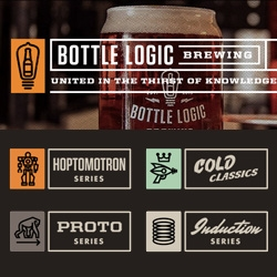 Bottle Logic Brewing in Anaheim, CA has lovely branding - nice iconography! (Good robot + raygun especially!)