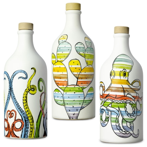 Antico Frantoio Muraglia EVOO always has lovely, reusable ceramic bottles. The Pop Art Collection is filled with prickly pear cactus, octopi, sardines, cuttlefish, and tentacles.