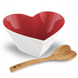Sagaform Sweetheart Bowl - Designed by Ylva Olsson this heart shaped ceramic bowl comes with a bamboo ladle and it comes in a pretty giftbox!