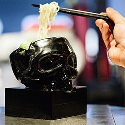 "mastermind JAPAN x HIDE-CHAN MASTERMIND RAMEN Hong Kong! ""Only the first 100 patrons each day will receive their very own skull bowl, so make sure you arrive well before the 6 p.m. start time."""