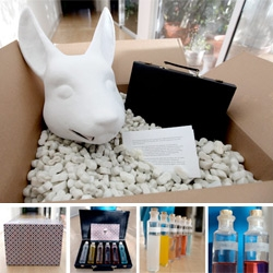 Wow. On surprise xmas eve boxes to arrive ~ stunning one came from White Rabbit Inc, Fallon, and Syfy. Nothing like vials of Clear Conscience and Desire to kick off 2010... oh a latex rabbit head!