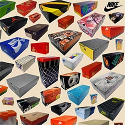 Nike sneaker box compilation poster.