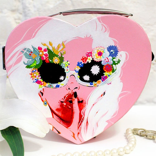 Eliza Frye Pink Heart Box - Hand painted, signed, and numbered. Gouache and colored pencil on paper box. Limited edition of five with a fabulous secret inside...