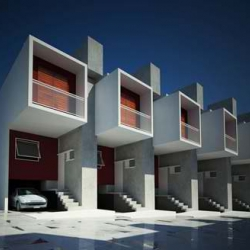 Modern Box House Design Sao Paulo, Brazil. The total area is 1011 m², and the area of each unit is 46 m². Each residence has a one car garage above.
