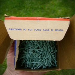 "A sweet look at a vintage box of Spring Green ""Kolorpins"" nails purchased at the bargain price of 50 cents USD."