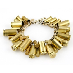 Bracelet made out of various bullet casings, by Astali.  Bullets were shot at a shooting range - no drive-by required.