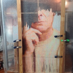 Portraits made of Paint in Bubble Wrap by Bradley Hart