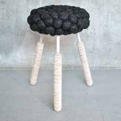 Swedish designer Hanna Bramford has created Black Sheep Stool, with a seat made out of wool from black sheeps.