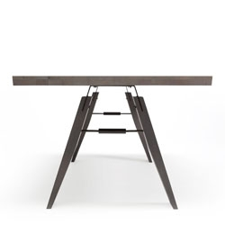 Branch Table by Marc Th. van der Voorn. Dutch Dining design, European Oak and black oxided steel parts.