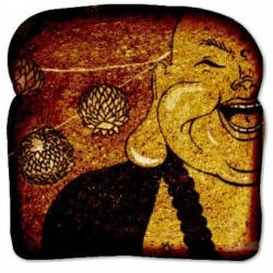 "The Bread Art Project - Doing art on virtual bread for a good cause (Feeding America). (Featured bread is by Beekey Piecake; Illustration; titled ""Laughing Buddha"")."