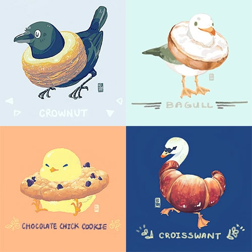 Bread Birds by twitter user @fuguhitman. Crownut, Bagull, Breadowlark, Pidgingerbread, Chocolate Chick Cookie, Prequetzal, Croisswant, Sparroll, and more.