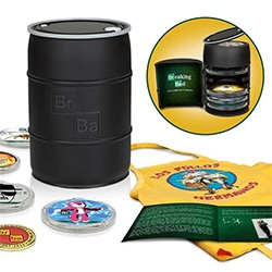 Fun packaging for this Breaking Bad: The Complete Series Blu-ray Set in a collectible replica money barrel, with a commemorative challenge coin, Los Pollos Hermanos apron, and more.