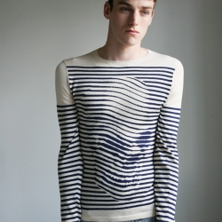 An update of the classic Breton sweater by Sibling, a UK knitwear company, using an op-art image from Skull-A-Day by Noah Scalin.