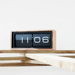 Copper flip clock. A vintage flip clock, reinvented and redesigned, with a unique combination of materials and graphics. Designed by dutch designer Erwin Termaat for LEFF amsterdam.