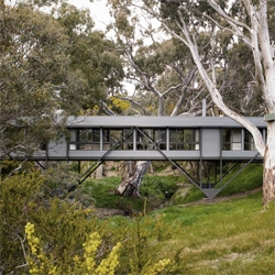 Mark Pritchard´s Bridge House gently touches the soil, almost levitating over the wild australian  forest.