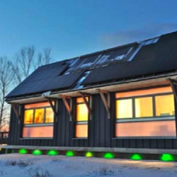 The BrightBuilt Barn, located in Rockwood, Maine, is one of the super energy-efficient prefab designs of the year. A highly covetable structure, this barn/studio is not only a net-zero house... it is also seeking LEED Platinum certification